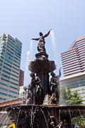 Cincinnati Fountain Tyler Davidson Genius Of Water Print by Paul Velgos