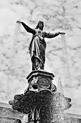 Black And White Photography Photos - Cincinnati Fountain Tyler Davidson Genius of Water Statue by Paul Velgos