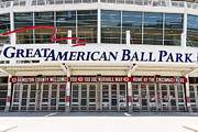 Cincinnati Reds Posters - Cincinnati Great American Ball Park Entrance Sign Poster by Paul Velgos