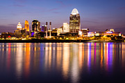 Riverfront Framed Prints - Cincinnati Night Skyline Riverfront Framed Print by Paul Velgos
