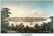 Landscape. Scenic Drawings Framed Prints - CINCINNATI OHIO c1856 Framed Print by Granger