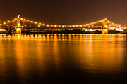 Lit Posters - Cincinnati Roebling Bridge at Night Poster by Paul Velgos