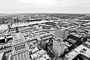 Downward Posters - Cincinnati Skyline Aerial Poster by Paul Velgos