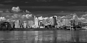 White River Prints - Cincinnati Skyline BW Print by Keith Allen