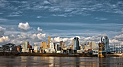 River. Clouds Prints - Cincinnati Skyline HDR Print by Keith Allen