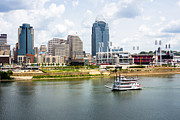 Ballpark Photo Prints - Cincinnati Skyline with Riverboat Photo Print by Paul Velgos