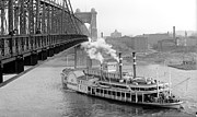 Padre Art Photos - Cincinnati Suspension Bridge and Steamboat 1906 BW by Padre Art