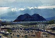 Watercolor Southwest Landscape Paintings - Cinder Cone Death Valley by Donald Maier