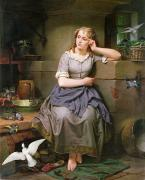 Fairytale Painting Prints - Cinderella and the Birds Print by English School