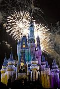 Fantasy Photo Prints - Cinderella Castle Spectacular Print by Charles  Ridgway