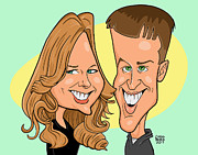 Caricature Prints - Cindy and Jordan Print by Chris Berg