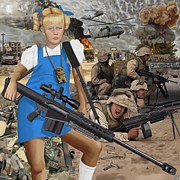 Iraq Digital Art Prints - Cindy Does Fallujah Print by Benjamin Anderson