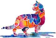 Vivid Colors Painting Posters - Cinnamon Cat Poster by Jo Lynch