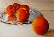 Peaches Pastels Posters - Cinque Pesche Poster by Colleen Brown