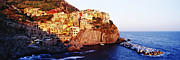 Italian Sunset Posters - Cinque Terra town of Manarola at Sunset Poster by Jeremy Woodhouse