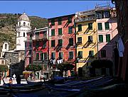 Italy Village Framed Prints - Cinque Terre Fishing Village Framed Print by Jim Kuhlmann