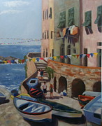 Riomaggiore Paintings - Cinque Terre Italy by Linda Scott