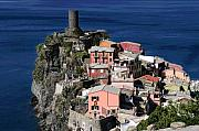 Italy Village Framed Prints - Cinque Terre  Italy  on the Sea Framed Print by Jim Kuhlmann