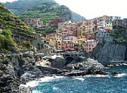 Vineyards Prints - Cinque Terre Manarola Print by Marilyn Dunlap