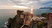 Italian Sunset Metal Prints - Cinque Terre Tranquility Metal Print by Mike Reid