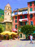 Village Digital Art Originals - Cinque Terre Village by Ozborne-Whilliamsson