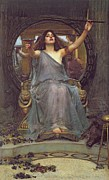 Round Painting Framed Prints - Circe Offering the Cup to Ulysses Framed Print by John Williams Waterhouse