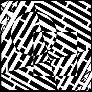 Optical Illusion Drawings - Circle And Square Maze by Yonatan Frimer Maze Artist