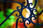 Circle Design On Iron Gate Print by Donna Bentley