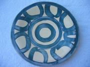 Glazed Pottery Ceramics Posters - Circle-Motif Blue Plate Poster by Julia Van Dine