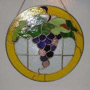 Panel Glass Art Originals - Circle of Grapes by Carl Correll