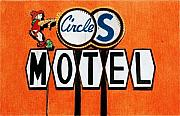 Cowboy Pencil Drawing Posters - Circle S Motel Poster by Glenda Zuckerman
