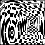 Tunnels Prints - Circles and square tunnels converging maze Print by Yonatan Frimer Maze Artist