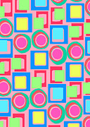 Designer Colour Prints - Circles and Squares Print by Louisa Knight