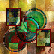 Golds Reds And Greens Posters - Circles and Squares triptych CENTRE Poster by Rosy Hall