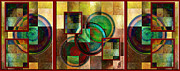 Golds Reds And Greens Posters - Circles and Squares Triptych COMPLETE Poster by Rosy Hall