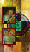 Golds Reds And Greens Framed Prints - Circles and Squares triptych Left side Framed Print by Rosy Hall