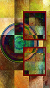 Golds Reds And Greens Posters - Circles and Squares triptych RIGHT Poster by Rosy Hall