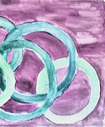 Mauve Art - Circles of Aqua on Mauve by Marsha Heiken