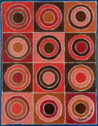 Shades Of Red Framed Prints - Circles of Life in Red Framed Print by Sandhya Manne
