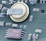 Semiconductor Posters - Circuit Board Battery, Sem Poster by Steve Gschmeissner