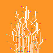 Modern Prints - Circuit Board Graphic Print by Setsiri Silapasuwanchai