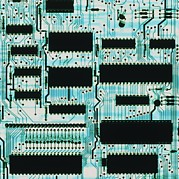 Integrated Framed Prints - Circuit Board With Microprocessors, Etc. Framed Print by Pasieka