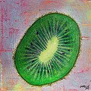 Fresh Mixed Media Framed Prints - Circular Food - Kiwi Framed Print by Janelle Schneider