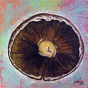 Fresh Mixed Media Prints - Circular Food - Mushroom Print by Janelle Schneider