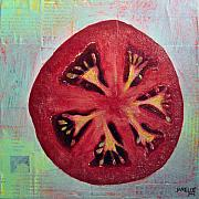 Fresh Mixed Media Prints - Circular Food - Tomato Print by Janelle Schneider