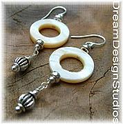 Music Jewelry - Circular Motion Sterlling Silver and Mother of Pearl earrings by Donna  Phitides