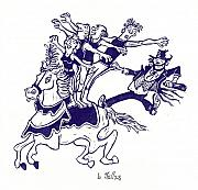 Linoleum Art - Circus Acrobats on Horse with Clown by Barry Nelles Art