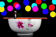 Miniature Digital Art - Circus balance game on chopsticks by Mingqi Ge