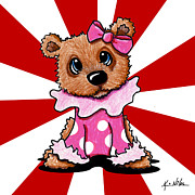 Fun Mixed Media Prints - Circus Bear Cutie Print by Kim Niles