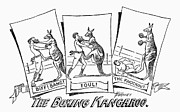 Boxing Framed Prints - Circus: Boxing Kangaroo Framed Print by Granger
